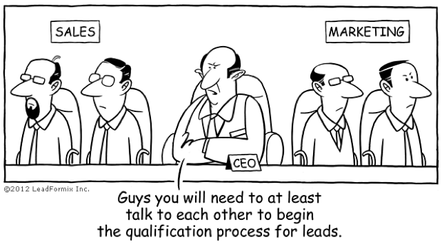 Sales and marketing should work together in SaaS companies. This comic strip captures that very well.