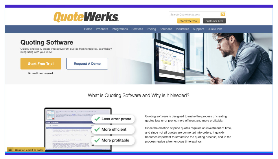 With QuoteWerks you can create documents, edit documents and event maintain contract database and pipeline management