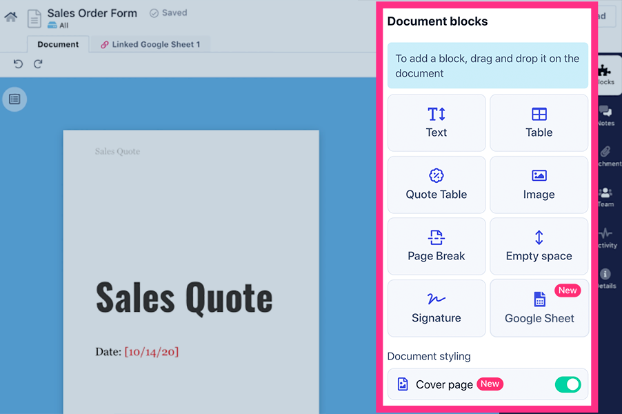 Use the building blocks to edit your order form easily