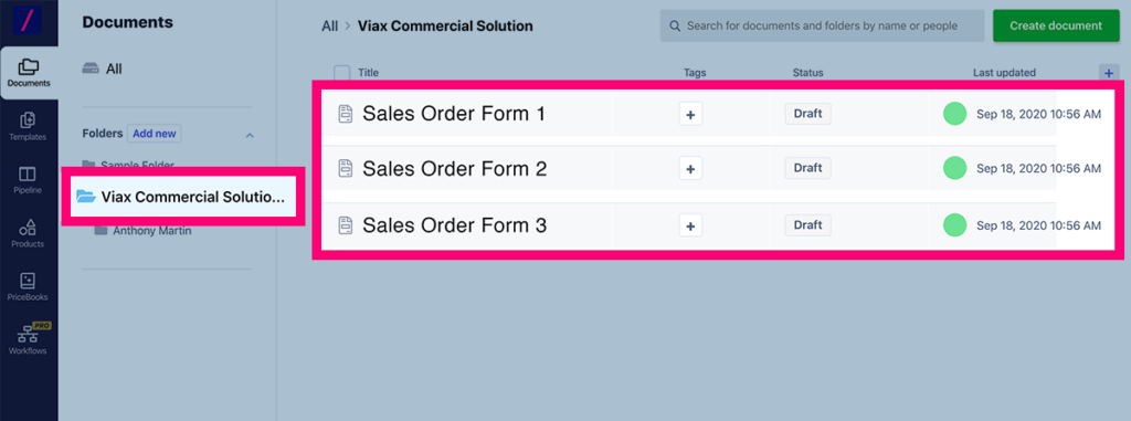 Mange and organize all order forms using folders in Revv
