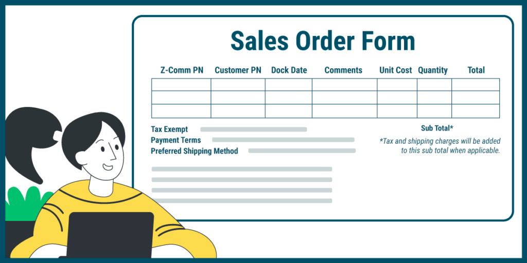 The seller issues the sales order form to confirm the buyer's order