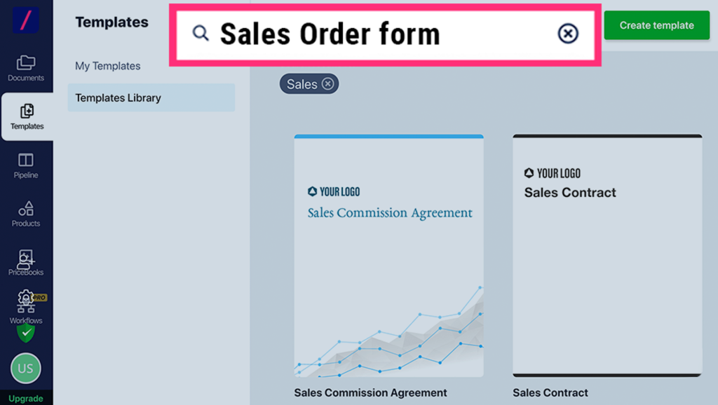 Choose a sales order template from Revv's template library