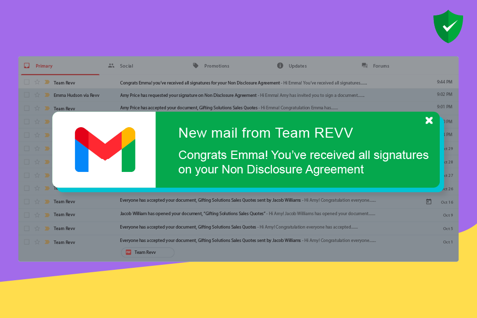 Revv updates senders on document activity through email notifications.