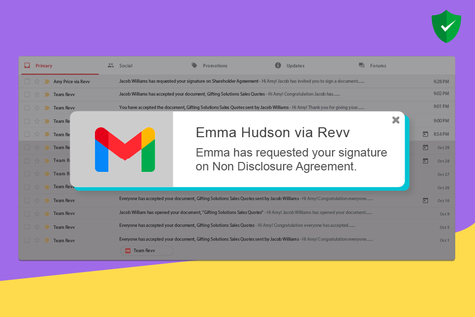 Revv sends automated email notifications to recipients to eSign the document.