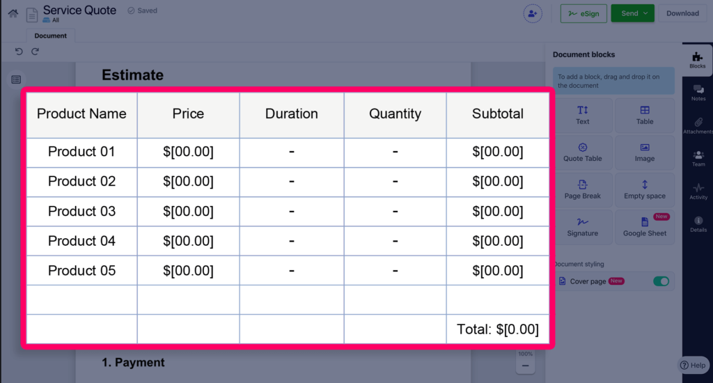 Present the pricing information in a concise table format in your business quotation.