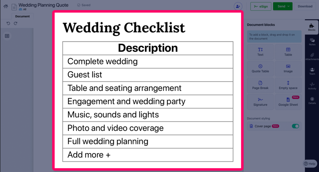 Revv offers templates with optional detail as a component in the wedding planning quotes.