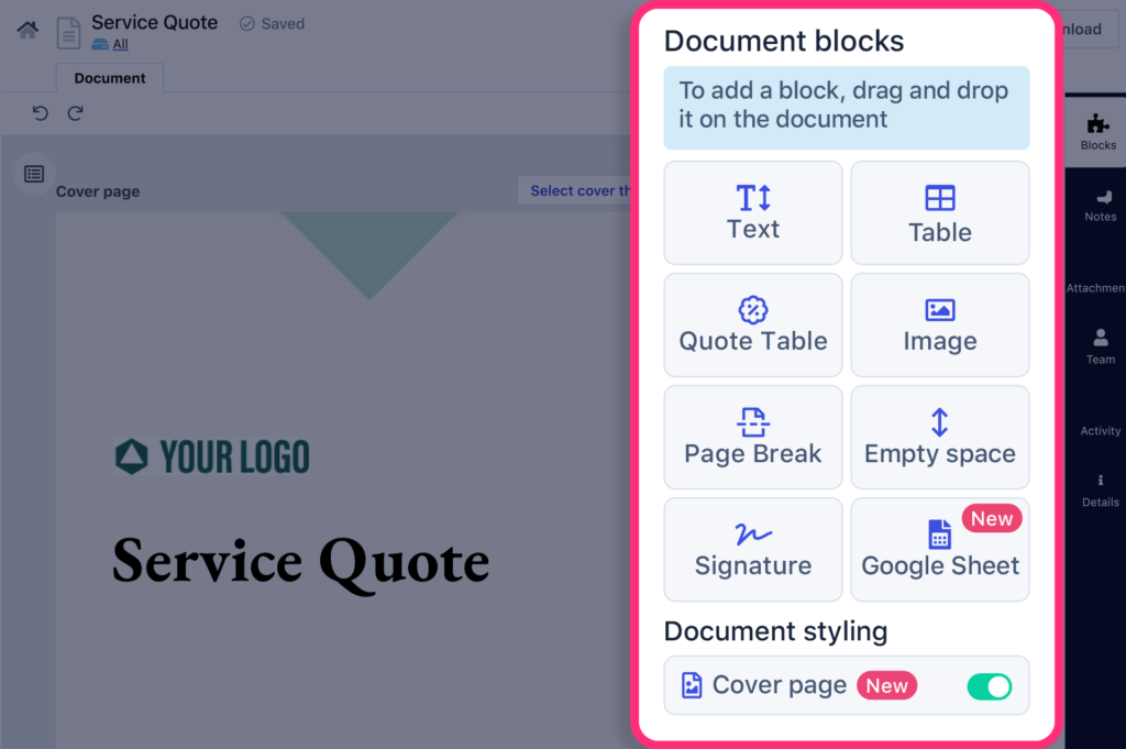 Easy to use building block feature in Revv enables you to customize your business quotation.
