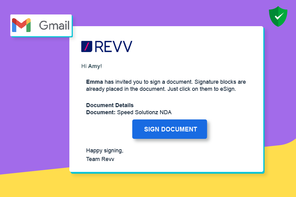 Documents sent through Revv can be accessed and signed by the recipients without logging into Revv.