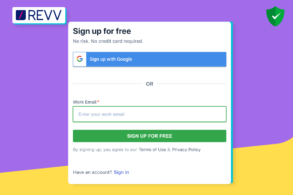 Sign up in Revv for free and create electronic signature.