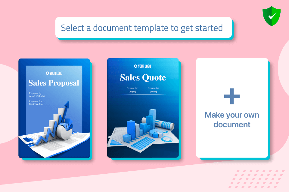 Revv's vetted and ready-to-use template library enables users to create documents instantly.