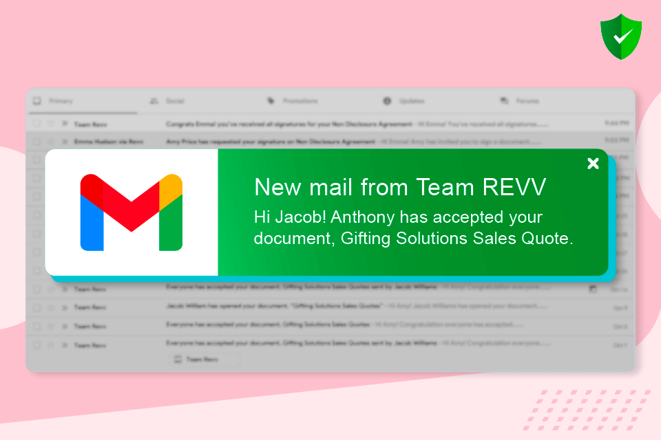 Revv sends email notification to senders on the status of document.