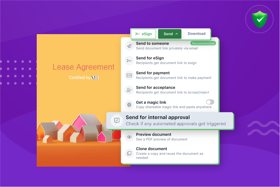 "Send documents for internal approvals using Revv's ""send for internal approval"" feature."