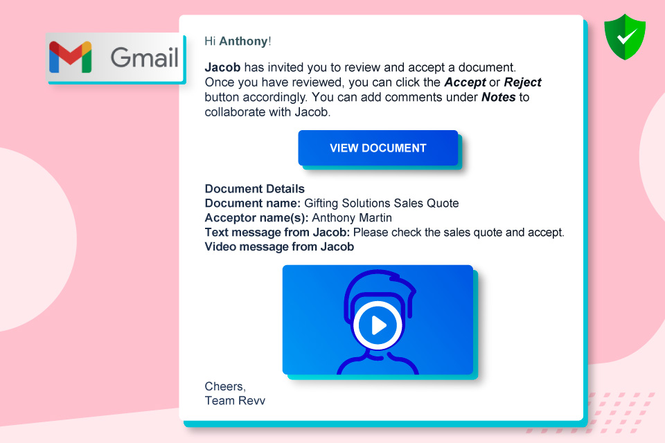 Revv shares document information to the recipients and notifies them through automated email alerts.
