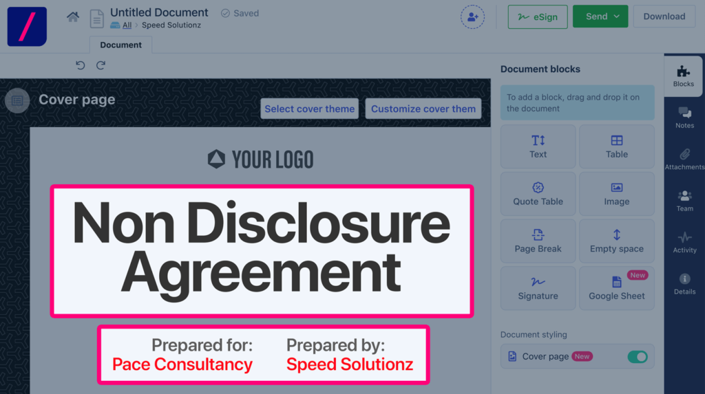 How to create a customized non-disclosure agreement (NDA) through Revv and Zoho Integration?