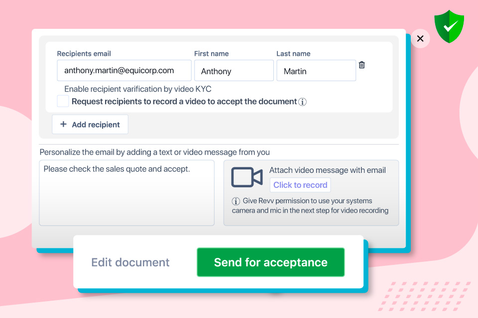 Fill recipients' information before sharing the document for acceptance.