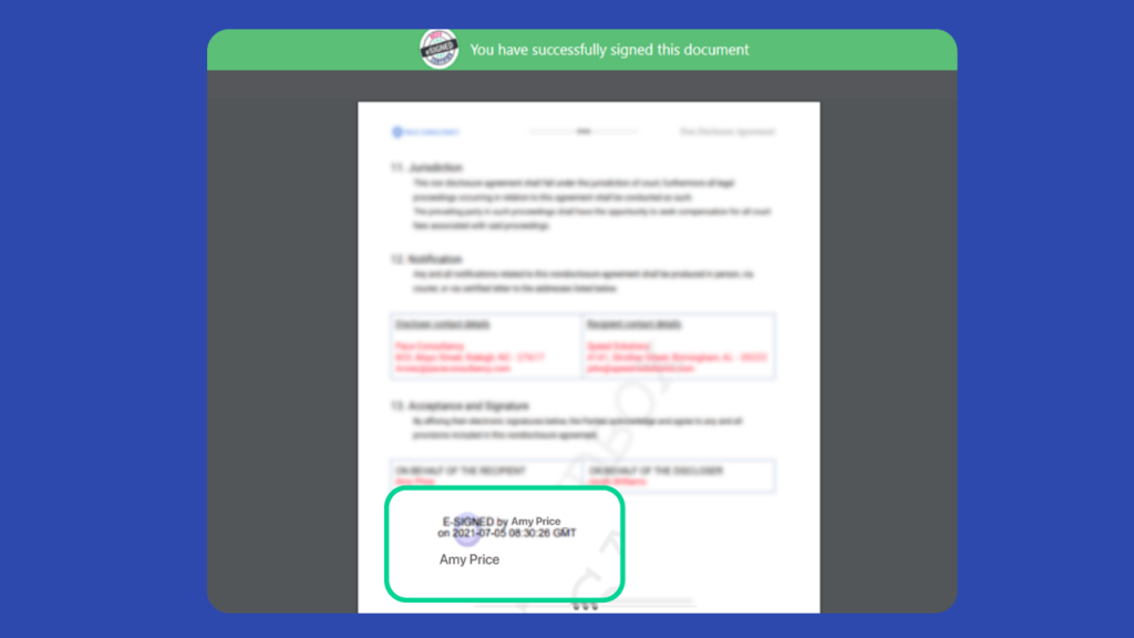 After a document is signed electronically, Revv permanently marks the signatures in the document along with the date and time stamp.