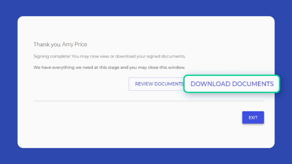 Revv offers signers to download and store the signed electronic document.
