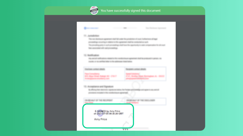 Revv adds eSignatures of the signers along with the date and time stamps on all the documents signed online.