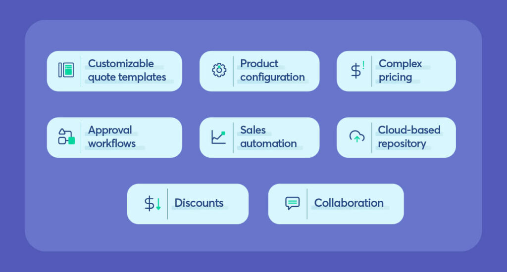 A CPQ comes with a variety of features to enhance the sales process.