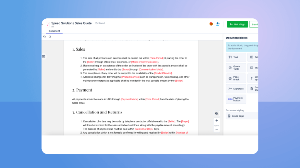 Custom your quotes using drag and drop blocks in Revv's cloud-based CPQ platform.